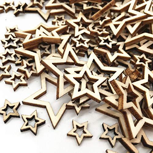 Rebanadas De Estrellas De Madera Mini Estrellas De Madera Adornos Madera Adornos Estrella Madera Con Forma De Estrella,Para Decoración Fiesta De Navidad Boda Diy Decoración 3 Tamaños(2/3/4)Cm 300 Pzs