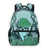 Trendy Casual Daypack Leichte Schultaschen Graffiti Boy Skull Cap und Bandana Handling Sprühfarbe Schulrucksäcke Student