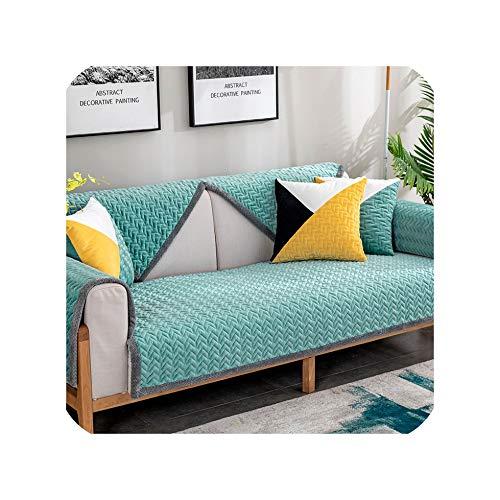 Green Plaid Winter Plüsch Striped Print verschleißfeste und schmutzige Sofakissen Sofatuch Einfache Anti Rutsch Wasser Welligkeit Elegante Sofabezug E 90x160cm 1St
