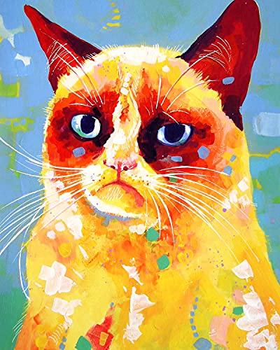 ESHUJIA Kit de pintura al óleo para adultos, para niños, principiantes, estilo nórdico, abstracto, color animal, jirafa, gato (13234, 50,8 x 60,9 cm, sin marco)