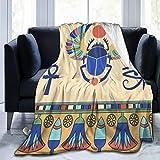 RUBEITA Manta de Microfibra Ultra Suave,Iconos Egipcios Escarabajo Ilustración Vector Lotus Egipto Antiguo Escarabajo,Decoración para el hogar,cálida Manta para sofá Cama,80'X60'