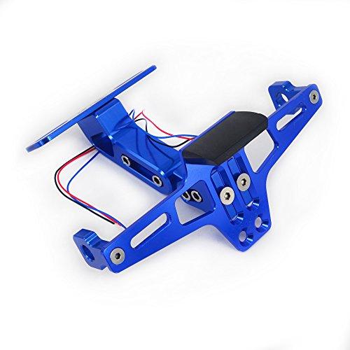 Fast Pro Marco de aluminio ajustable para matrícula de motocicleta con luz LED (azul)