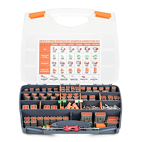 IWISS DEUTSCH 519PCS DT Connector Kit in 2,3,4,6,8,12 Pin Configurations, Size 16 Stamped Formed Contacts(AWG 14), Wedgelock & Pin Extraction Tools, Ideal for Automotive Aftermarket Service