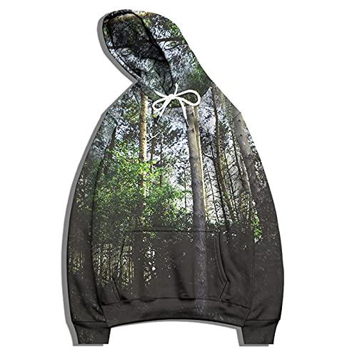SSBZYES Felpa da Uomo T-Shirt a Maniche Lunghe Felpa con Cappuccio Maglione di Grandi Dimensioni Felpa con Motivo Ad Albero Giacca da Coppia Felpa da Uomo E da Donna