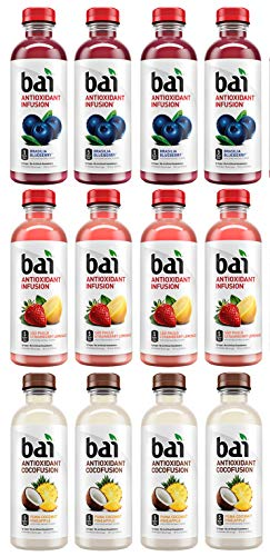 LUV-BOX Variety BAI ANTIOXIDANT Water pack , pack of 12 , 18 fl oz , INFUSION BRASILIA BLUEBERRY ,COCOFUSION PUNA COCONUT PINEAPPLE , INFUSION SAO PAULO STRAWBERRY LEMONADE