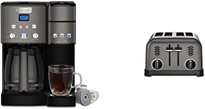 Cuisinart SS-15BKS Coffee Center Maker, 12-Cup, Black & CPT-180BKS Metal Classic Toaster, 4-Slice, Black Stainless