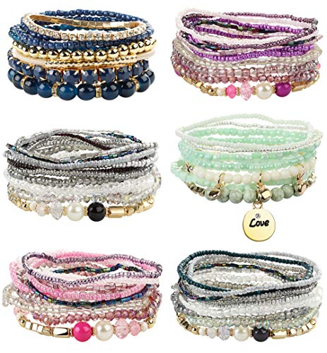 FIBO STEEL 6 Sets Bohemian Stackable Bead Bracelets for Women Stretch Multilayered Bracelet Set Multicolor Jewelry