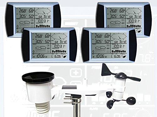 froggit WH1080 SE Quattro (4 Displays) Profi Funk Wetterstation Solar Touchscreen USB (Neuer Außenmast)