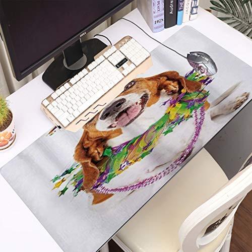FAQIMEI Alfombrilla Gaming para PC Feliz Sonriente Perro Basset Hound con un Collar de Cuentas de Guirnalda con Cuello de buf Máxima Precisión con Base de Caucho Natural, Máxima Comodidad