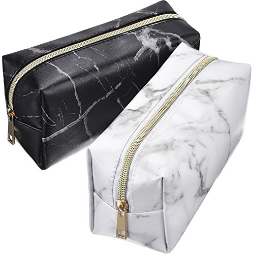 2 Pieces Cosmetic Toiletry Makeup Bag Pouch Gold Zipper Storage Bag Marble Pattern Portable Makeup Brushes Bag (S, White and Black)
