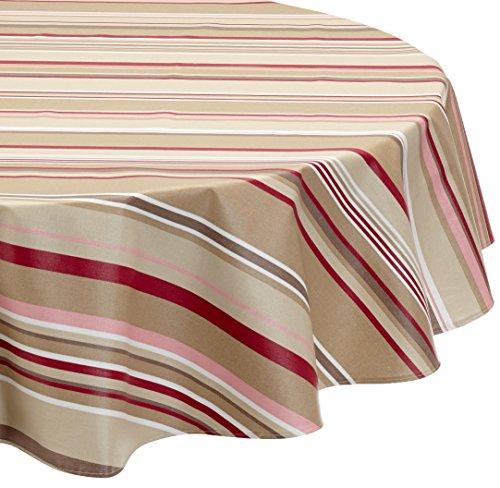 Nappe Ovale anti-tache imperméable 160x200cm Rayure Taupe Rose par Fleur de Soleil - coton enduit - sans solvant - sans phtalate - 100% fabrication française