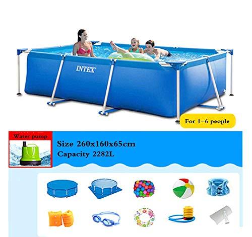 Phil Beauty Infantil Deluxe Splash Frame Pool Piscina Desmontable Tubular para Patio Jardín Playa Capacidad 7127L Buena Tenacidad Protector Solar Y A Prueba De Fugas,260x160x65cm