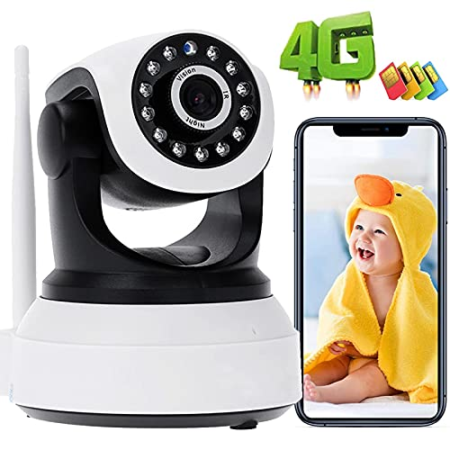 IP Cámara De Interior 3G/4G SIM Tarjeta Monitor De BeBé PTZ CCTV IP Vigilancia Cámara 1080P HD,355°/90°,Visión Nocturna,Alarma Remota,Detección De Movimiento,Audio Bidireccional,APP:CamHi 【4G-Cámara】