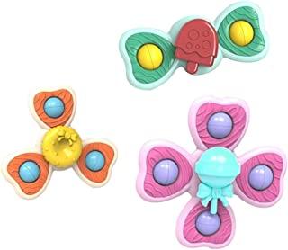 Dorakitten Suction Cup Toys Plastic 3PCS Interactive Whirly Spinner Toy Table Sucker Early Learner Toys