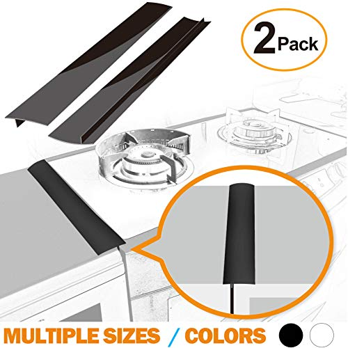Silicone Stove Counter Gap Cover 21 by Kindga, Easy Clean Gap Filler Sealing Spills Between Kitchen Counter, Appliances,Stovetop, Oven, Washing Machine, Washer, Dryer Set of 2 (Black)