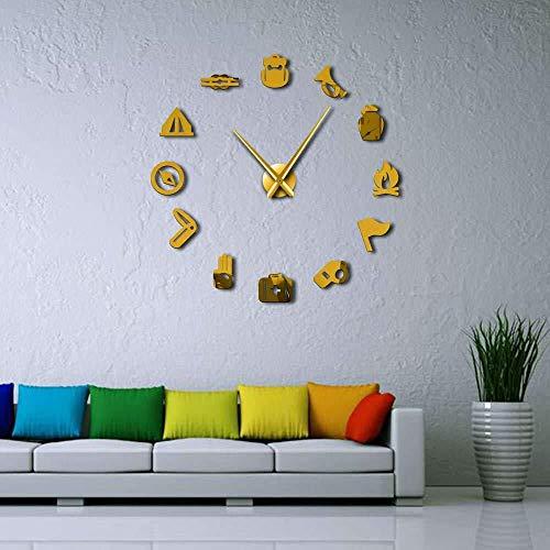 Reloj de pared para bricolaje, gran reloj de pared, camping, reconocimiento, reloj de pared para niños, gran reloj de pared 3D decor-37 pulgadas dorado