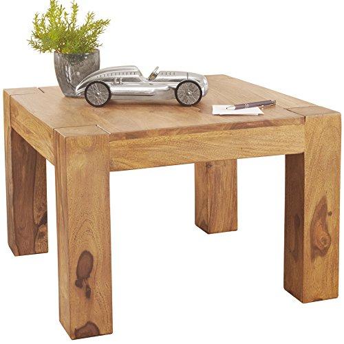 WOHNLING Couchtisch Massiv-Holz Akazie 60 cm breit Wohnzimmer-Tisch Design braun natur Landhaus-Stil Beistelltisch Naturprodukt Wohnzimmermöbel Unikat modern Massivholzmöbel Echtholz quadratisch