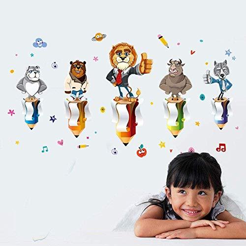 Muursticker,Muurstickers, muurschilderingen Cartoon dier Potlood muursticker Slaapkamer Woonkamer Kinderkamer Sticker Maat 60 * 90cm