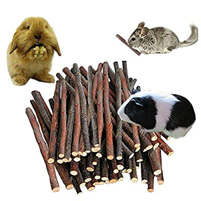 120PCS Organic Apple Wood Chew Sticks Toy for Rabbit Chinchilla Bunny Guinea Pig Chew Toys and Accessories Ideal Pet Supplies for Rodents Teeth Cleaning from Petawi