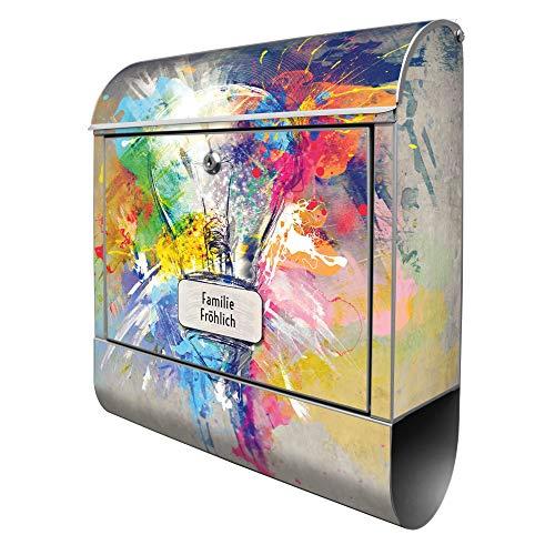 Banjado Design Briefkasten personalisiert mit Motiv Idee | Stahl pulverbeschichtet mit Zeitungsrolle | Größe 39x47x14cm, 2 Schlüssel, A4 Einwurf, inkl. Montagematerial