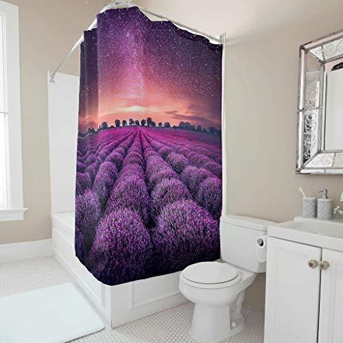 Antibakteriell Duschvorhänge Blumen Lavendel Muster Sternenhimmel Wasserabweisend Wasserdicht Blickdicht Shower Curtain mit Haken Badezimmer Gardinen Lila 120x200cm