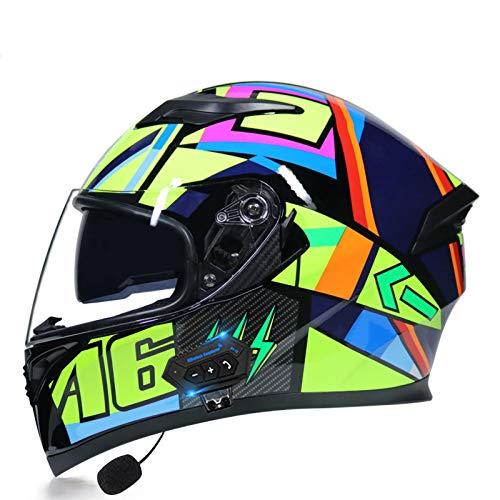 SJAPEX Hombres Y Las Mujeres Casco De Motocicleta Cuatro Estaciones Fuera De La Carretera Casco Integral,Bluetooth Incorporado Certificación ECE/Dot Aplicar para Apto para Adultos B,XXL=63~64cm
