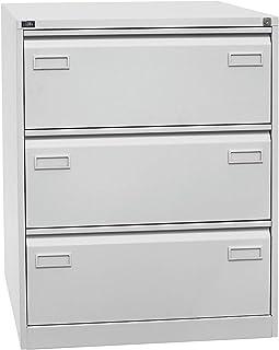 Bisley Classeur pour dossiers suspendus LIGHT, à 2 rangées, 3 tiroirs, format A4, gris clair | CDF3645 - Armoire de bureau...