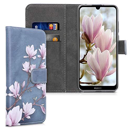 kwmobile Wallet Hülle kompatibel mit Huawei Y6s (2019) - Hülle mit Ständer Kartenfächer Magnolien Taupe Weiß Blaugrau