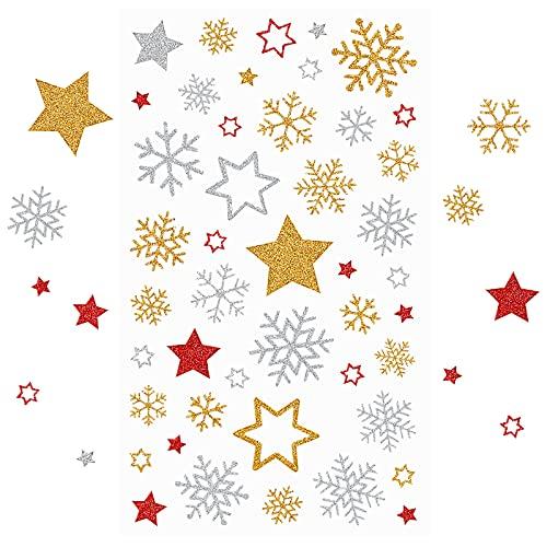 Kesote 230x Sticker Stern Aufkleber Glitzer Schneeflocken Etiketten Gold Selbstklebend zum Basteln Silber Weihnachten Deko Rot