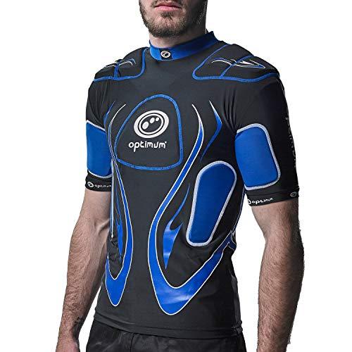 OPTIMUM Inferno - Protecciones de Hombros para Rugby (hombreras), Color Negro/Azul (Black/Blue), Talla Large