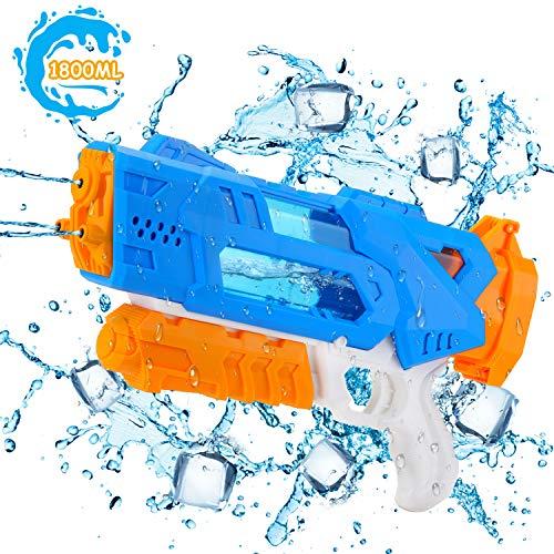 EKKONG Wasserpistole, 1800ML Wasserpistolen groß mit 10 Meter Reichweite 3 Düsen Wassergewehre für Kinder und Erwachsene Sommerpartys im Freien, Strand, Pool, Garten Strandspielzeug (Blau-Gelb)