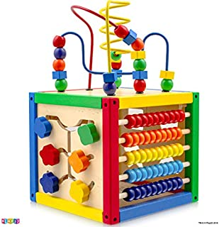 Play22 Activity Cube with Bead Maze - 5 in 1 Baby Activity Cube Includes Shape Sorter, Abacus Counting Beads, Counting Numbers, Sliding Shapes, Removable Bead Maze - My First Baby Toys - Original