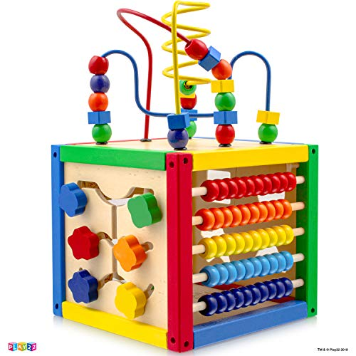 Play22 Activity Cube with Bead Maze - 5 in 1 Baby Activity Cube Includes Shape Sorter, Abacus...