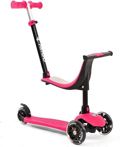CZTC Scooter des Enfants avec Le Scooter réglable de Conception de Roues d'unité Centrale pour 1-8 Ans (Couleur   Rose)