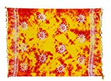 Ciffre Sarong Pareo Wickelrock Strandtuch Lunghi Stickerei Tuch Schlicht Uni Orange Gelb Sonnen Muster + Schnalle