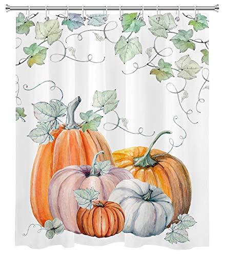 LB Herbst Kürbis Duschvorhang Erntedankfest Harvest Aquarell Grün Blatt Herbst Duschvorhänge für Badezimmer Dekorationen Set mit Haken 152,4 x 182,9 cm wasserdichtes Polyestergewebe