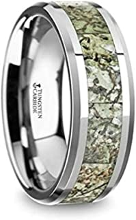 Targaryen Men's Tungsten Wedding Band Ring with Light Green Dinosaur Bone Inlay & Beveled Edges 8mm Wide Wedding Band with Custom Inside Engraved Personalized from Roy Rose Jewelry
