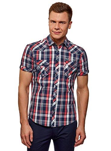 oodji Ultra Uomo Camicia a Quadri con Tasche su Petto, Blu, 48