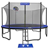 SONGMICS Trampoline with Enclosure, 15-Foot Outdoor Backyard Trampoline for Kids, with Net, Basketball Hoop, Jumping Mat, Safety Pad, Ladder, Blue and Black USTR154Q01