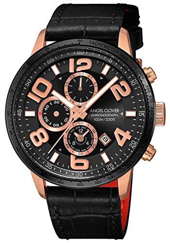 エンジェルクローバーAngel Clover 腕時計 LUCE ブラック文字盤 60分計クロノグラフ/セラミックベゼル LU44PBK-BL メンズ