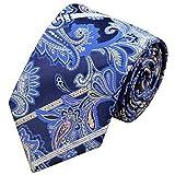 Jason&Vogue Designer Krawatte in mitternachtsblau blau gelbes Paisley