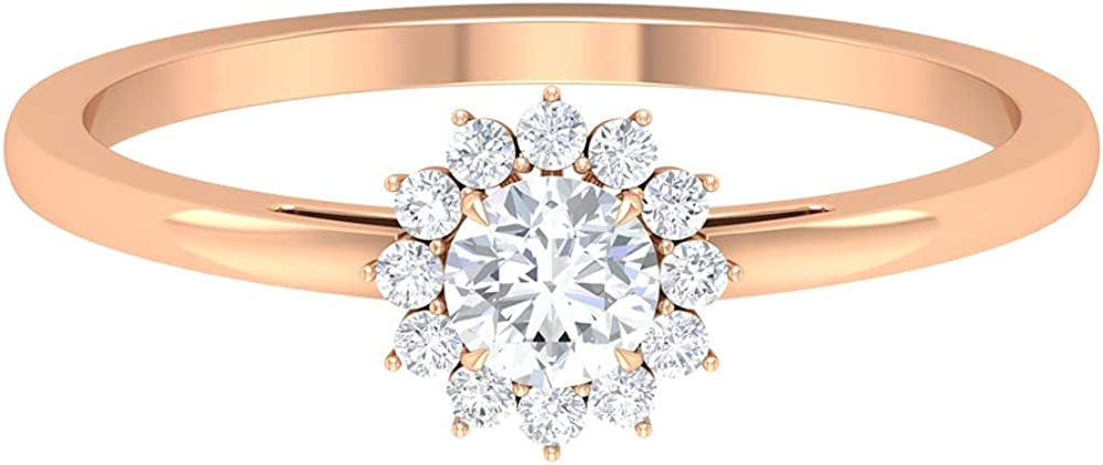 1 NEW before selling ☆ 2 CT Diamond Solitaire Halo Ring Women Overseas parallel import regular item AAA for Rings Floral