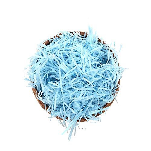 Shiwaki 100 g de Papel de Rafia Multicolor, Tiras y hebras de Confeti Arrugado triturado para Envolver Regalos y llenar canastas, Azul
