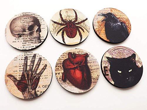 Halloween Home Decor Set of 4 or 6 Coasters Mousepad or Hardboard Skull Anatomical Heart Black Cat Raven Goth