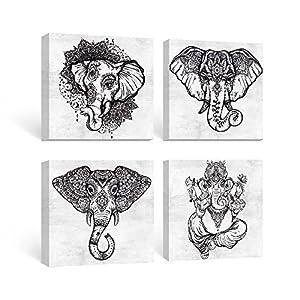SUMGAR Black and White Wall Art Bedroom Boho Decor Elephant Pictures Bathroom Grey Mandala Canvas Paintings Gray Animal Framed Artwork Set Indian Prints Bohemian Home Decorations 4 Panel,12x12 inches