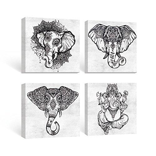 SUMGAR Cuadro de pared en blanco y negro Dormitorio Boho Decoración Cuadro de elefante Pintura de animales Baño Mandala gris Pintura de lienzo para dormitorio Pasillo Sala de estar 30x40cm 4 piezas