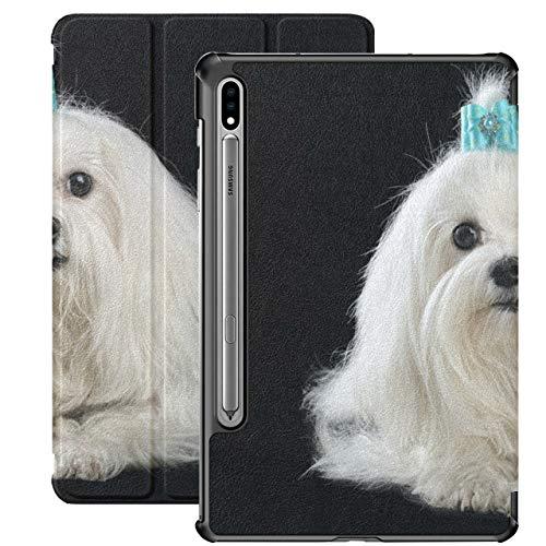 Elegante Funda para Tableta Samsung de Perro maltés para Samsung Galaxy Tab S7 / s7 Plus Samsung Galaxy S7 Funda para Tableta con Soporte Trasero 7 Pulgadas para Galaxy Tab S7 11 p
