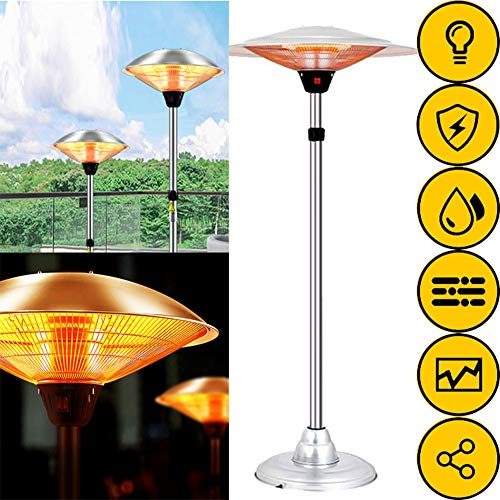 WANGXIAO Electric Patio Heater, Free Standing Carbon Heater Height Adjustable Infrared Radiant Heater 3 Heat Settings 1200W/1800W/3000W IP44 Protection for Outdoor Garden,L