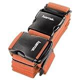 Hama Sangle pour Bagages à 2 voies (Double sangle pour Fixer la Valise lors des Voyages, 5x200 et 5x230 cm) Orange