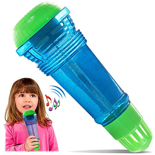 Novelty Place Echo Mic for Kids and Toddlers - Battery-Free Magic Karaoke Microphone Voice Amplifying Retro Toy for Singing, Speech & Communication Therapy - 10' (Blue & Green)